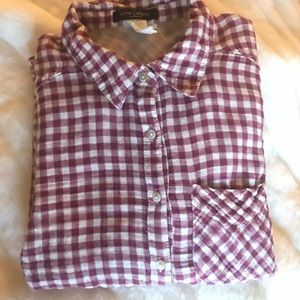 So soft! Gingham button down